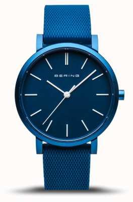 Bering | verdadeira aurora | pulseira de borracha azul | mostrador azul | 16934-799