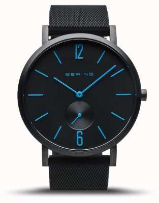 Bering | verdadeira aurora | pulseira de borracha preta | mostrador preto | mãos azuis 16940-499