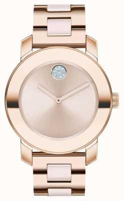 Movado Negrito | pulseira banhada a ouro rosa | mostrador em ouro rosa | 3600639