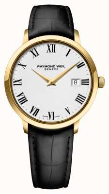 Raymond Weil Mens toccata | pulseira de couro preto | mostrador branco 5488-PC-00300