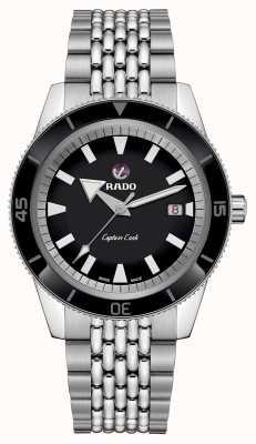 Rado Xl 'capitão cozinheiro' pulseira de aço inoxidável mostrador preto R32505153