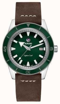 Rado Xl 'capitão cozinheiro' pulseira de couro marrom mostrador verde R32505315