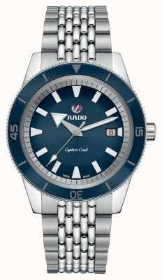 Rado Xl 'capitão cozinheiro' pulseira de aço inoxidável mostrador azul R32505203