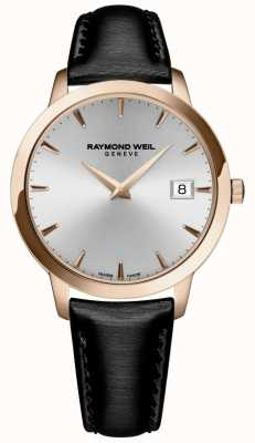 Raymond Weil Mulheres | toccata | pulseira de couro preto | mostrador prateado 5388-PC5-65001