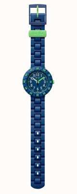 Flik Flak | azul escuro solo | pulseira de plástico azul | mostrador azul | FCSP086
