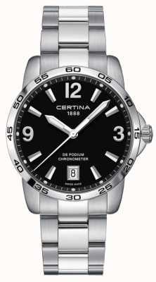 Certina Ds pódio 40mm | pulseira de aço inoxidável | mostrador preto | C0344511105700