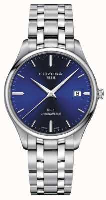 Certina Cronômetro Ds-8 | pulseira de aço inoxidável | mostrador azul | C0334511104100
