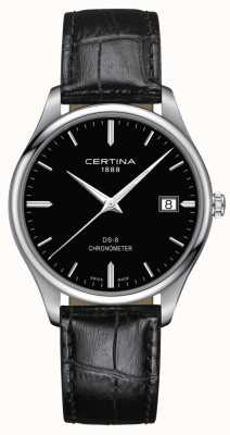 Certina Cronômetro Ds-8 | pulseira de couro preto | mostrador preto | C0334511605100