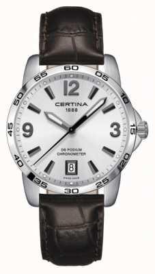 Certina Ds pódio 40mm | pulseira de couro marrom | mostrador prateado | C0344511603700