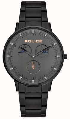 Police | berkeley para homem | pulseira de aço preto | mostrador cinza | 15968JSB/39M