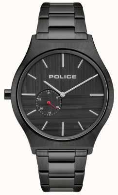 Police | orkneys para homem | pulseira de aço inoxidável preta | mostrador preto 15965JSU/02M