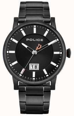 Police | collin para homem | pulseira de aço inoxidável preto | mostrador preto 15404JSB/02M