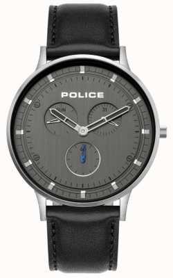 Police | berkeley para homem | pulseira de couro preto | mostrador cinza | 15968JS/39