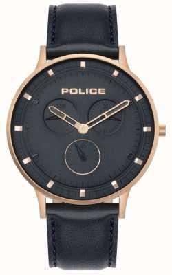Police | berkeley para homem | couro azul escuro | mostrador azul 15968JSR/03