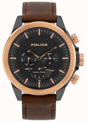Police | belmont masculino | pulseira de couro marrom | mostrador preto | 15970JSUR/02