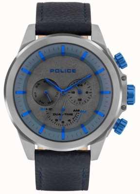 Police | belmont masculino | pulseira de couro azul | mostrador azul / cinza | 15970JSU/61