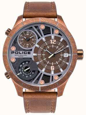 Police | maquinista de homem | pulseira de couro marrom | mostrador marrom | 15662XSQR/12