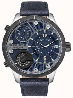 Police | maquinista de homem | pulseira de couro azul | mostrador azul | 15662XSTU/03