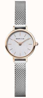 Bering   clássico feminino   pulseira de malha de aço   mostrador cinza   11022-064
