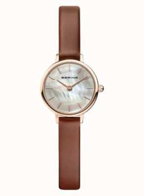 Bering | clássico feminino | pulseira de couro marrom | madrepérola | 11022-564