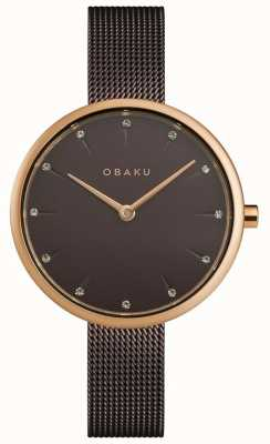 Obaku | nozes de senhora | pulseira de malha marrom | mostrador marrom | V233LXVNMN