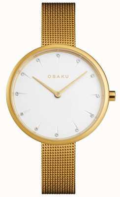 Obaku | ouro notat feminino | pulseira de malha de ouro | mostrador branco | V223LXGIMG