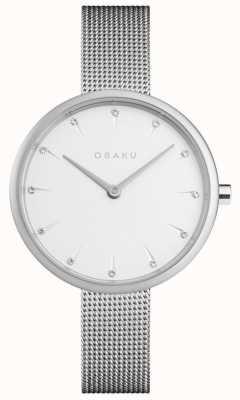 Obaku | aço para senhora | pulseira de malha de prata | mostrador branco | V233LXCIMC