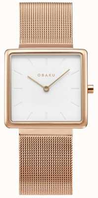 Obaku | rosa kvadrat feminina | malha de ouro rosa | mostrador branco | V236LXVIMC