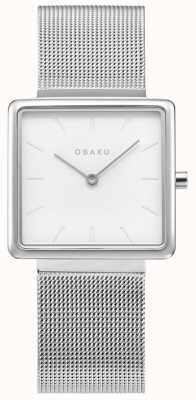 Obaku | aço kvadrat para senhora | pulseira de malha de prata | mostrador branco V236LXCIMC