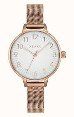 Obaku | syren das mulheres aumentou | pulseira de malha de ouro rosa | mostrador branco V237LXVIMV