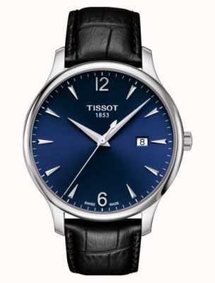 Tissot   tradição masculina   pulseira de couro preto   mostrador azul   T0636101604700