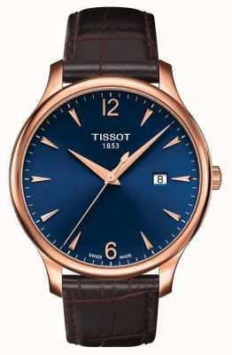 Tissot | tradição masculina | pulseira de couro marrom | mostrador azul | T0636103604700