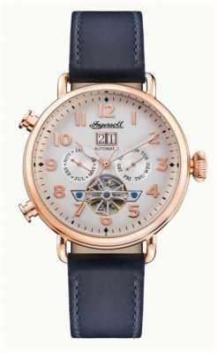 Ingersoll | a musa automática | pulseira de couro azul marinho | mostrador branco I09501