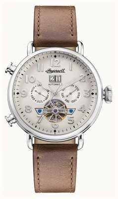 Ingersoll | a musa automática | pulseira de couro marrom | mostrador branco I09502