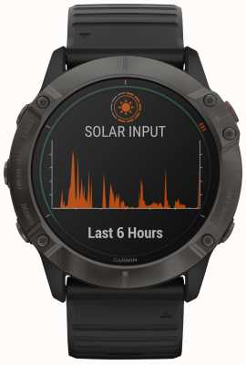 Garmin Fenix 6x titânio solar pro | dlc cinza carbono | cinta preta 010-02157-21