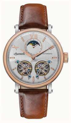 Ingersoll | o hollywood automático | pulseira de couro marrom | mostrador prateado I09602