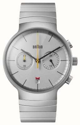 Braun Crono masculino | mostrador prateado | pulseira de aço inoxidável BN0265SLBTG