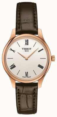 Tissot Tradição das mulheres | pulseira de couro marrom | mostrador prateado T0632093603800