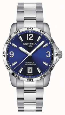 Certina Mens ds pódio | cronômero | 40mm | mostrador azul | C0344511104700