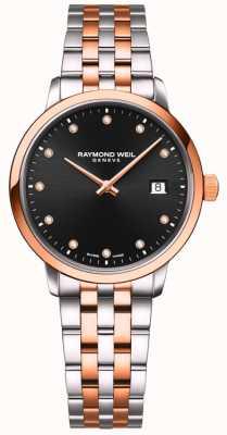 Raymond Weil | toccata para senhora | pulseira de dois tons | conjunto de diamante preto 5985-SP5-20081