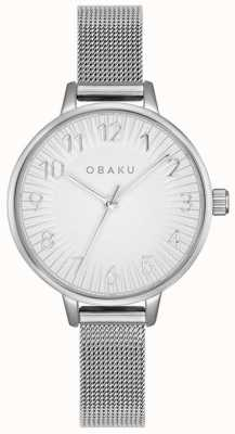 Obaku | aço syren para mulher | pulseira de malha de prata | mostrador prateado | V237LXCIMC