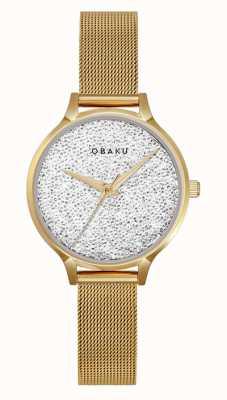 Obaku | st jerner gold para mulher | pulseira de malha de ouro | mostrador de cristal V238LXGWMG