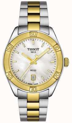 Tissot | pr100 sport chic para mulher | pulseira de dois tons | T1019102211100