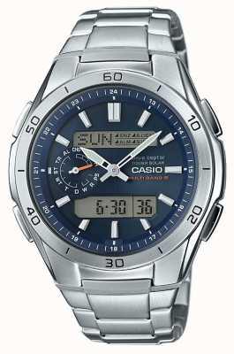 Casio Mens wave ceptor mostrador azul de aço inoxidável WVA-M650D-2AER
