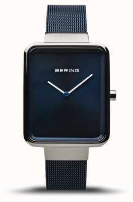 Bering Clássico   prata polida / escovada   pulseira de malha azul   14528-307