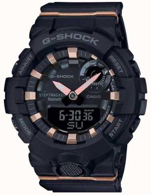 Casio | esquadrão g-choque | pulseira de borracha preta | bluetooth inteligente | GMA-B800-1AER