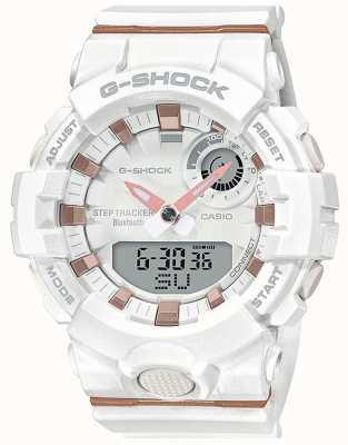Casio   esquadrão g-choque   pulseira de borracha branca   bluetooth inteligente   GMA-B800-7AER