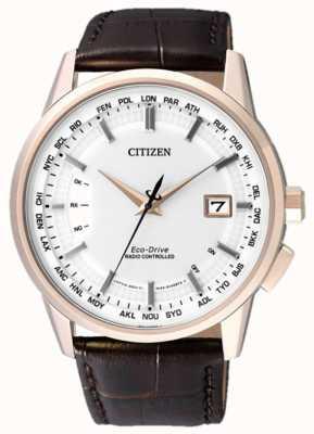 Citizen Mundo perpétuo em | pulseira de couro marrom | mostrador branco | CB0153-21A