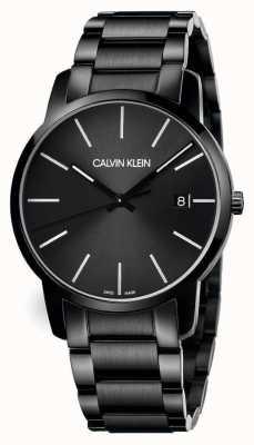 Calvin Klein   cidade dos homens   pulseira de aço inoxidável preto   mostrador preto   K2G2G4B1