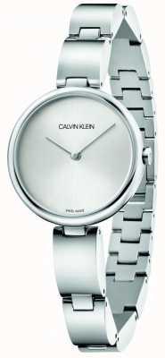Calvin Klein   pulseira de aço inoxidável para mulher   mostrador prateado   K9U23146